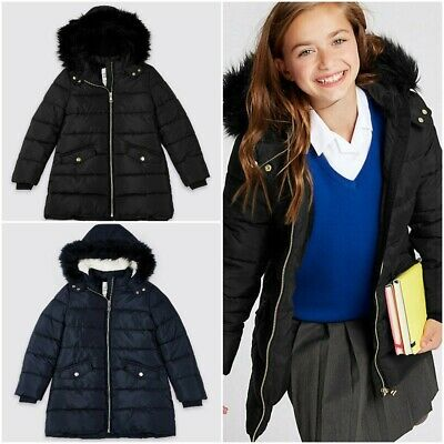 Ex Marks and Spencer Girls School Coat Padded Coat With Stormwear 3-14 Yrs