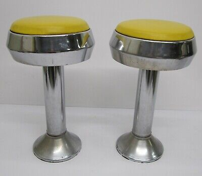 Pair 2 Vtg Chrome Soda Fountain Diner Bar Stools Chrome Metal Yellow Vinyl Seat