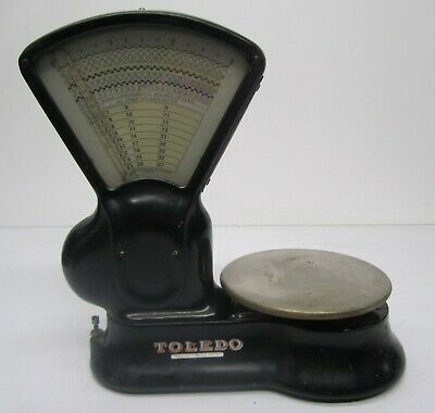 Vtg Toledo Mail Postal Weight Scale 1928 USPS Post Office Tool Black 3 Lb