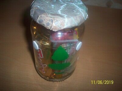 design , painted , transfer small glass jar come with mixture of sweets inside