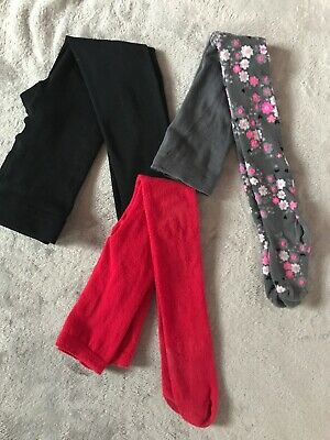 Girls Age 3-4 Years Black, Red And Grey Floral Winter Tights Bundle
