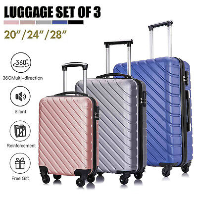 3 Piece Hardshell Spinner Suitcase Lightweight Luggage Set Carry On Trolley Case