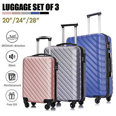 3 Piece Spinner Lightweight Suitcase Hardshell Luggage Set Carry On Multi-Colors