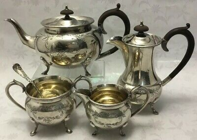 Midcentury Civic Sheffield Hand Chased  Heavy Ornate Tea Set~Pot~Creamer~Sugar