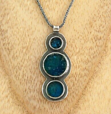 Ancient Roman Glass pendant artisan circles Sterling Silver Stefans necklace 17""