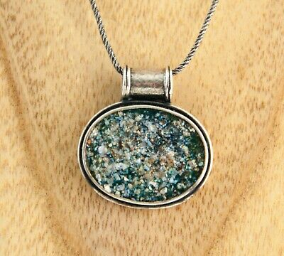 Ancient Roman Glass pendant oval Sterling Silver Stefans necklace made in Israel