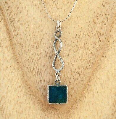 Ancient Roman Glass pendant 925 Sterling Silver Stefans necklace made in Israel