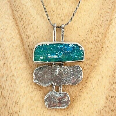 Ancient Roman Glass pendant artisan 925 Sterling Silver Stefans necklace Israel