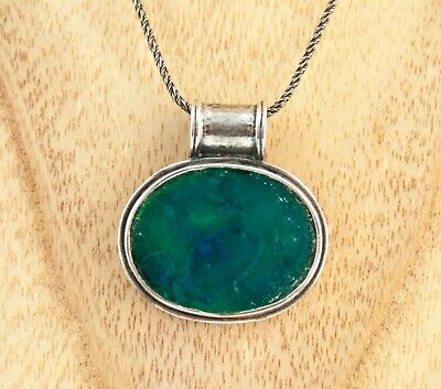 Sterling Silver 925 Stefans designer necklace Ancient Roman Glass oval pendant