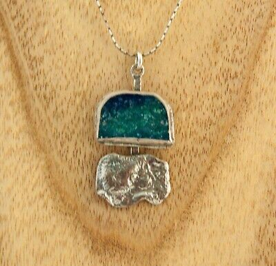 Sterling Silver Stefans designer necklace Ancient Roman Glass handmade charm