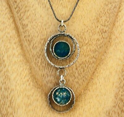 Sterling Silver 925 Stefans necklace Ancient Roman Glass pendant made in Israel