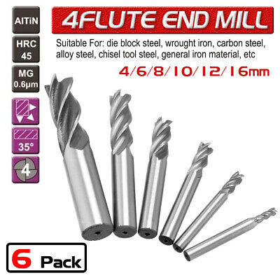 10Pcs 2-12mm Solid Carbide End Mill 4 Flute TiAlN Coated Metric Size Slot Drill