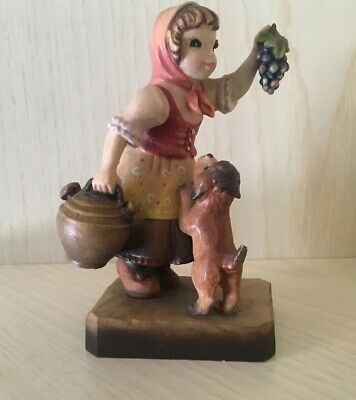 Anri Girl With Dog Hand Carved Wood Italy Beautiful Detail
