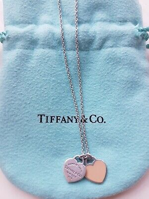 "Authentic Tiffany & Co Mini Double Heart Necklace, on a 16"" T&Co Chain."