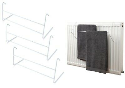 3x Metal 2 Bar Radiator Towel Clothes Airer 3M Dryer Drying Rack Rail Holder