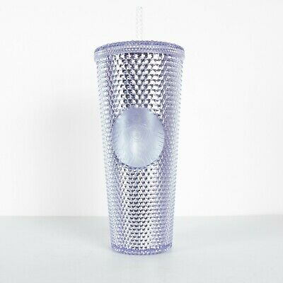 New Starbucks Platinum Silver Studded Tumbler Winter Holiday Cup 2019 24oz.