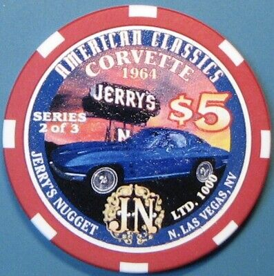 $5 Casino Chip. Jerry's Nugget, N. Las Vegas, NV. Corvette, LTD 1000 . G71.
