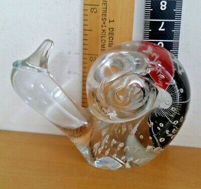Clear Crystal Art Glass Snail Figurine/Paperweight - VGC BEAUTIFUL
