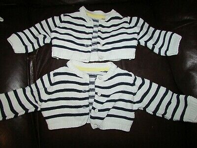 2 x baby TWIN girls striped knitted cardigans from M&S age 3-6yrs