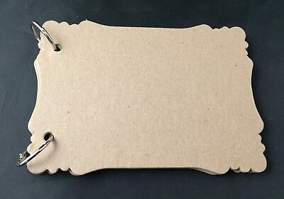 "Victorian Album 6 3/4"" X 4 3/4"" Bare Chipboard Unfinished 8 pages with rings"
