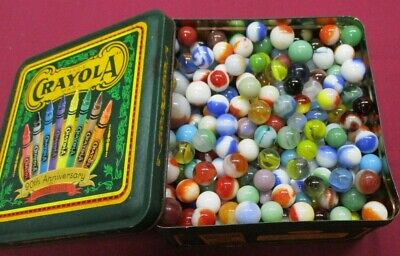 Lot of Hundreds of Vintage Marbles in Tin