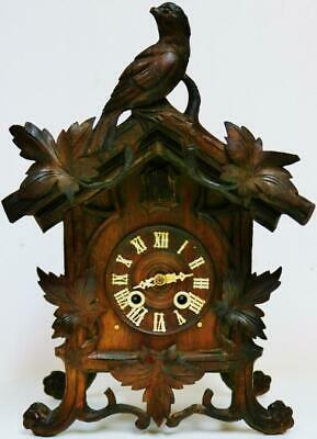Unusual Antique Carved Black Forest 8 Day Striking Cuckoo Bracket/Mantel Clock