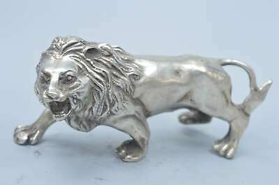 Collectable Handwork Decorative Old Miao SIlver Carve Exorcism Lion Tibet Statue