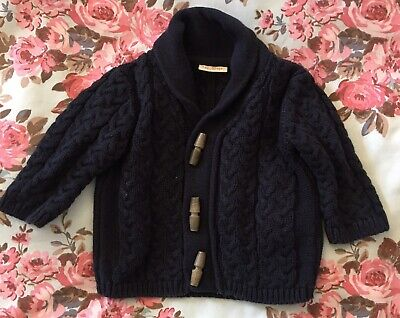 Next Baby Navy Blue Cable Knit Cardigan Age 3-6 Months