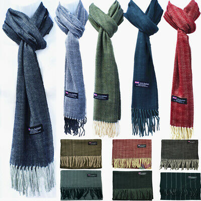 Womens Mens Winter 100% Cashmere Wool Wrap Striped Scarf Scotland Made Scarves