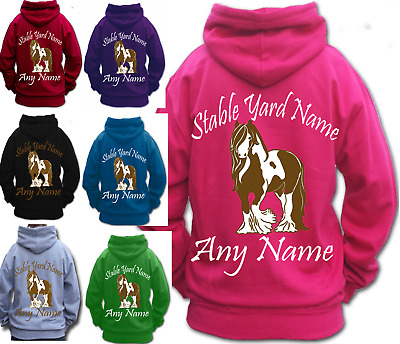 PERSONALISED HORSE RIDING HOODIE traditional GYPSY COB HEAVY HORSE SKEWBALD