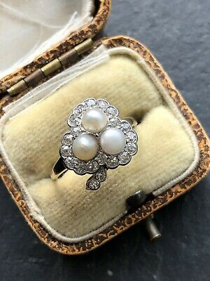 Antique Pearl And Diamond 18ct Yellow Gold Cluster Shamrock Clover  Ring Large