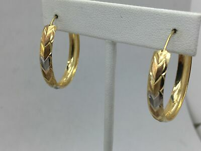 14K Solid Tri-Gold Hoops