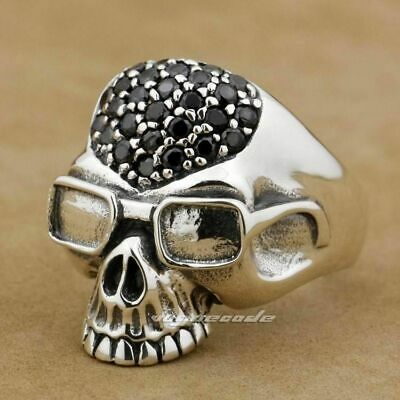 925 Sterling Silver Glasses Pilot Skull Ring Black CZ Mens Biker Ring 9D003 US 9