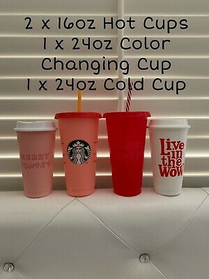 STARBUCKS REUSABLE COLD (24oz) & HOT (16oz) CUPS - INCLUDING 1 Color Changing