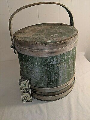 Gorgeous Very Large Early Antique Shaker Firkin Best Old Green Paint