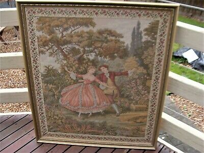 Large Frame Tapestry Needlepoint, Romantic Couple, Vgc, Can Deliver