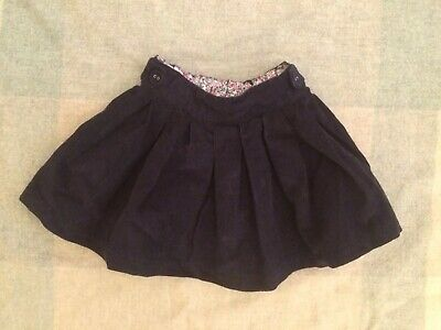 Jojo Maman Bebe Girls Navy Blue Cord Pleated Skirt - Age 12-18 Months