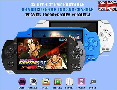 "32 Bit 4.3"" PSP Portable Handheld Game 8GB Console Player 10000+Games +Camera X6"