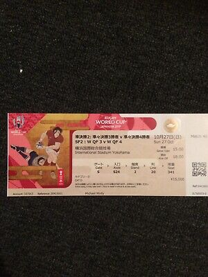 Rugby world cup 2019 Semi Final (Used) Wales v South Africa ticket (match 46)