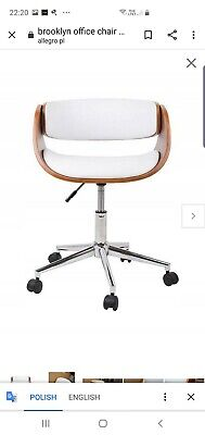 Very Beautiful Art Deco Walnut white Brooklyn Office Chair  Adjustable new