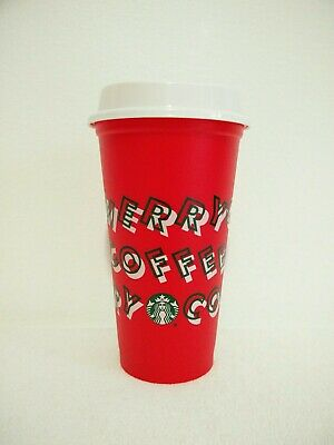 Starbucks 2019 Merry Coffee Red Reusable Hot Cup Grande 16 oz Holiday Coffee Cup