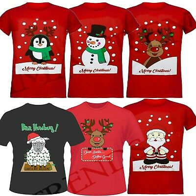 Unisex Womens Mens Christmas T-Shirt Penguin Snowman Santa Reindeer T-Shirts Top