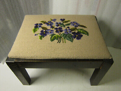 Antique Simple Plain Wood Foot Stool, recent Violet-Beige Floral Needlepoint Top