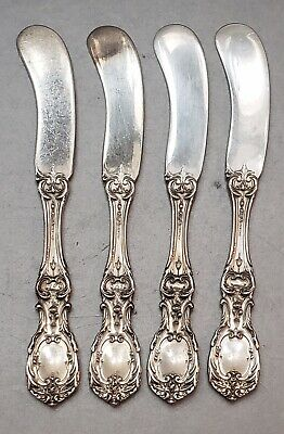 """4 Reed & Barton Francis I Sterling Flat Handle Butter Knives 5 3/4"""" Old Mark"""