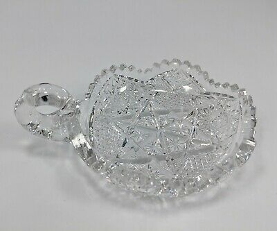 American Brilliant Period Cut Glass Nappy Handle ABP Candy Dish No Chips Mint 5""