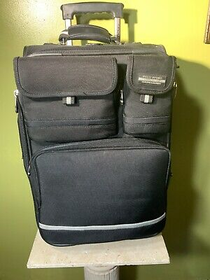 Vintage Polo Sport Ralph Lauren Rolling Carry-on Luggage Black Suitcase 22""