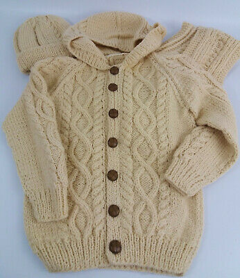 Child's Arran Cable Hand Knitted Hooded Jacket/Cardigan Hat & Scarf 9-10years
