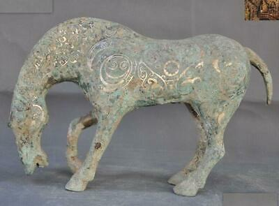 China dynasty Bronze Ware silver Pattern lucky success animal horse Steed statue