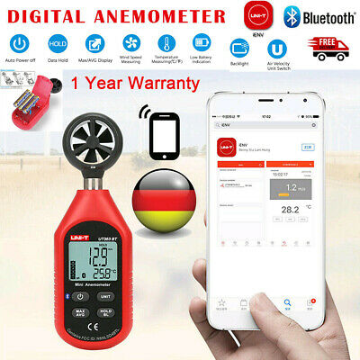 Digitales Bluetooth Flügelrad Anemometer Windmessgerät Windmesser Thermometer