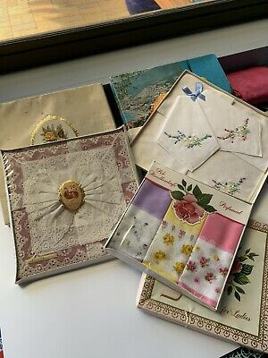 3 Boxed Sets Linen Handkerchiefs, 1950 , Irish Linen And Lace, Irish Cotton,